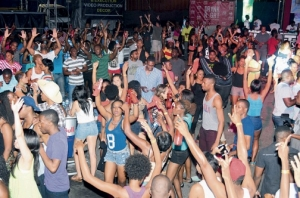 Masses jumping at week 2 of Bacchanal Fridays at Mas Camp